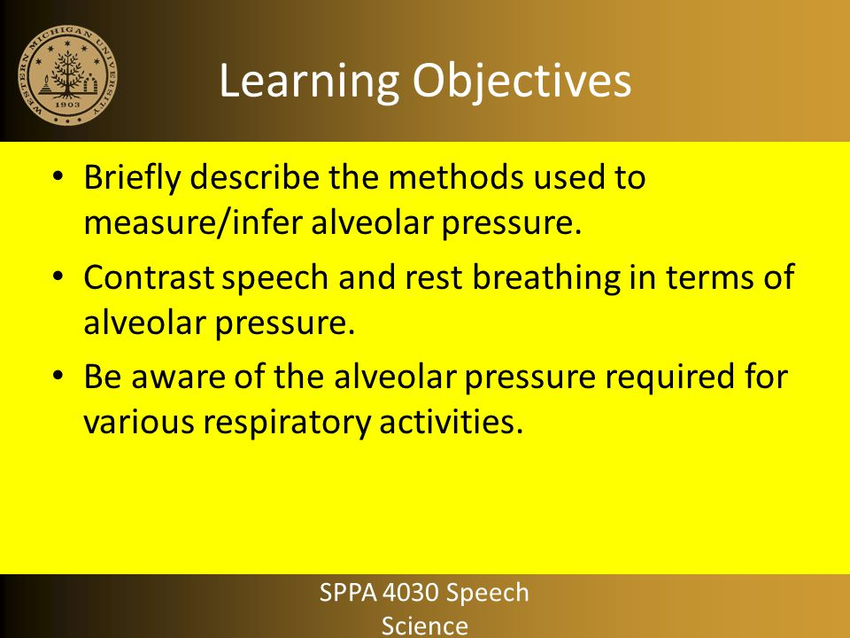 Learning Objectives Briefly describe the methods used to measure/infer alveolar pressure.