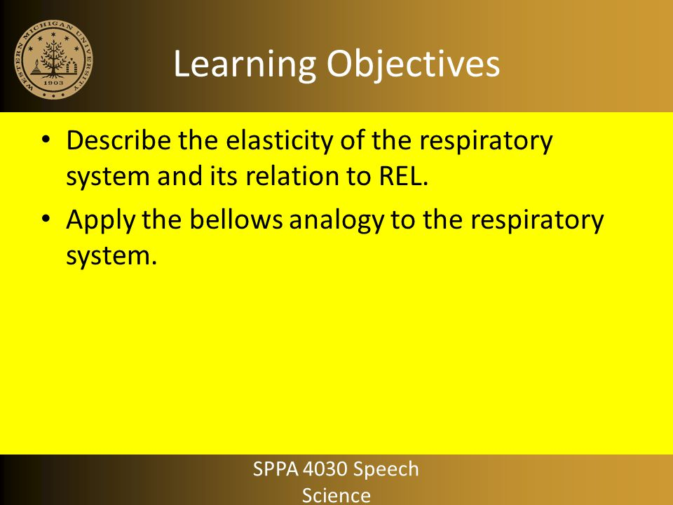 Learning Objectives Describe the elasticity of the respiratory system and its relation to REL. Apply the bellows analogy to the respiratory system.