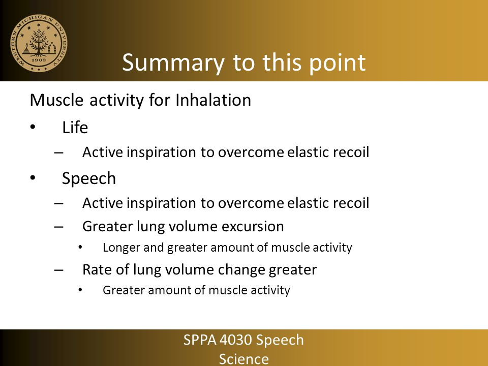 Summary to this point Muscle activity for Inhalation Life Speech