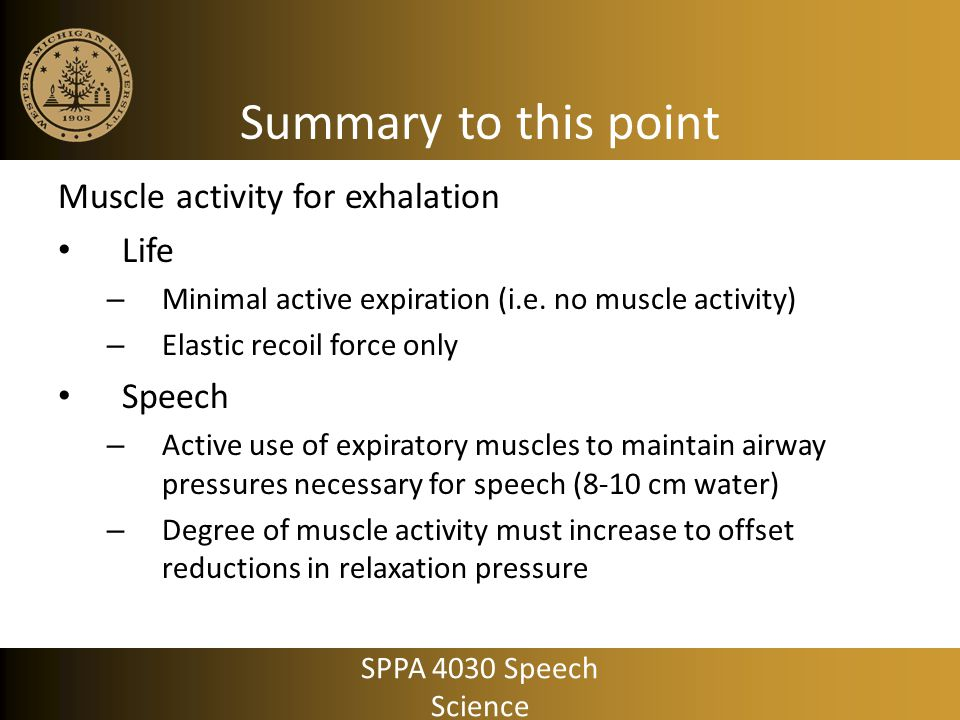 Summary to this point Muscle activity for exhalation Life Speech