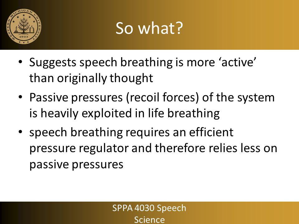 So what Suggests speech breathing is more 'active' than originally thought.
