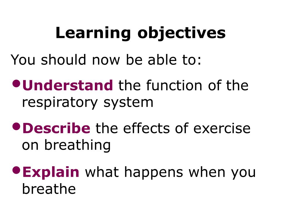 Learning objectives You should now be able to: