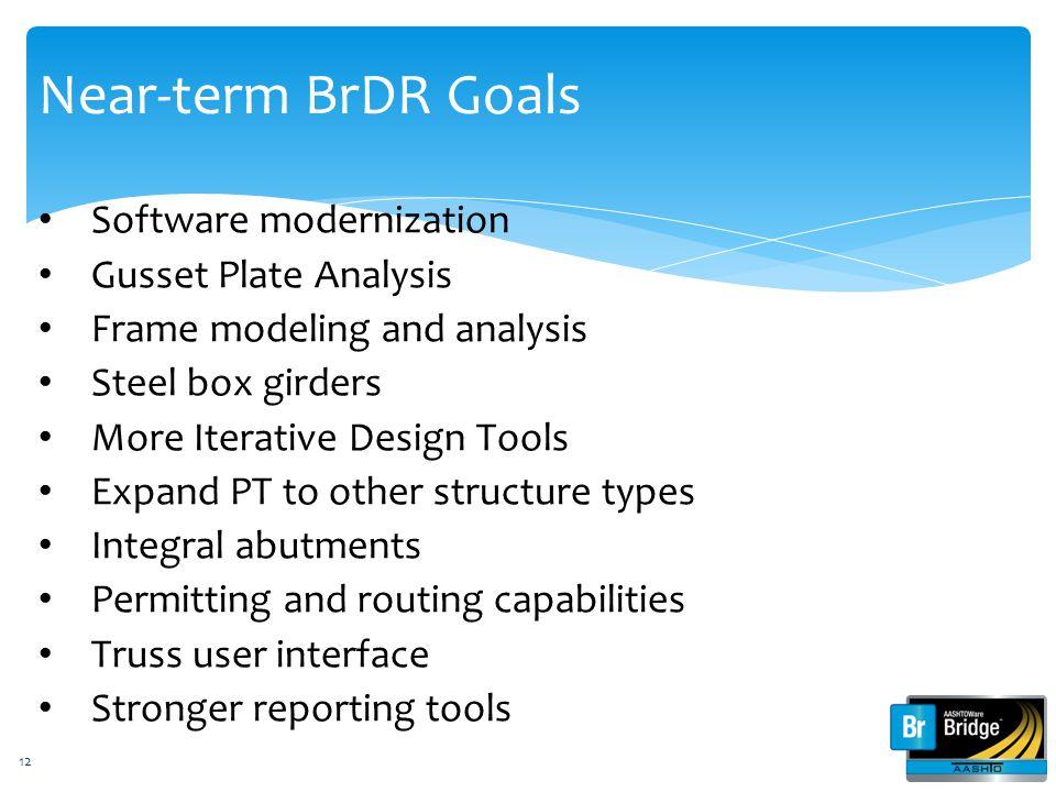Near-term BrDR Goals Software modernization Gusset Plate Analysis