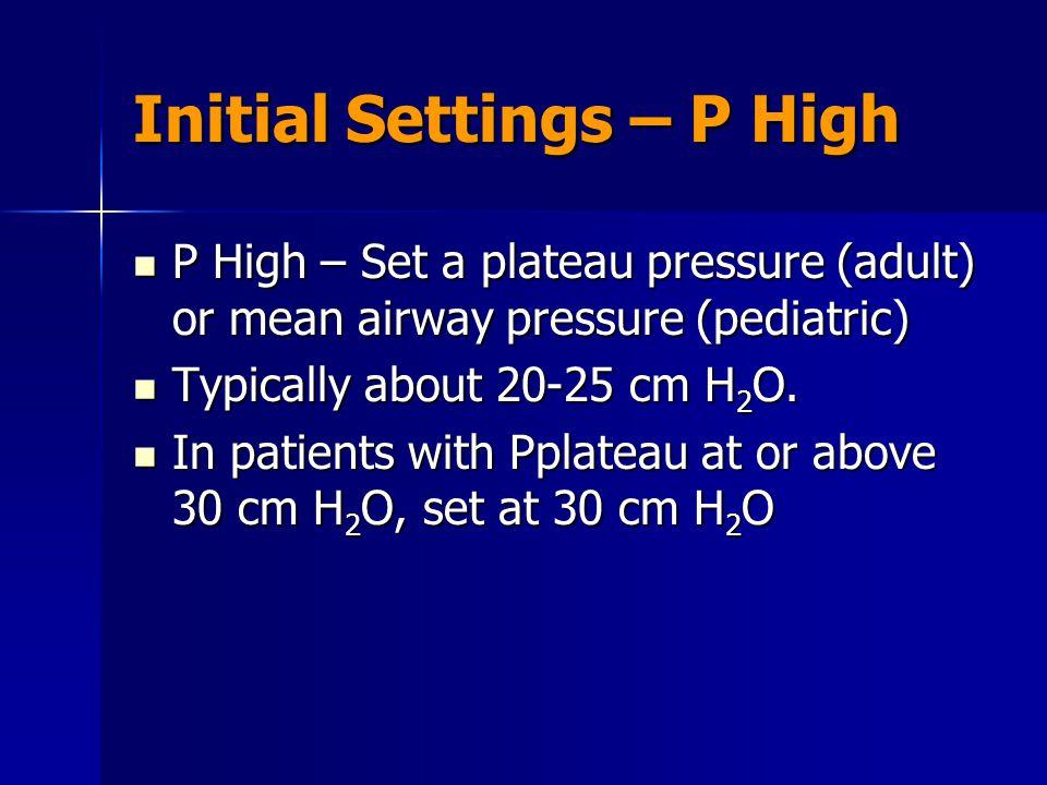 Initial Settings – P High