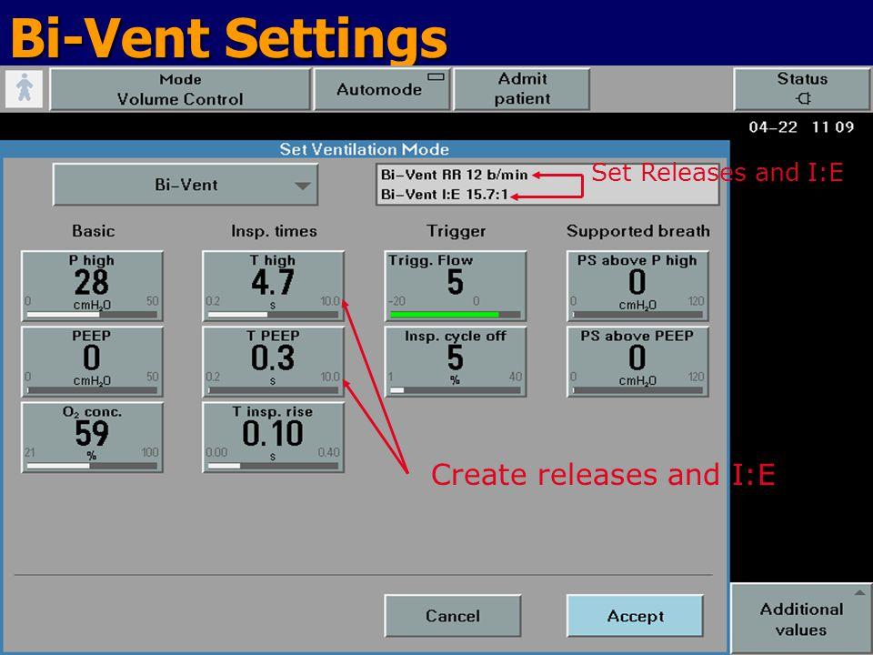 Bi-Vent Settings Set Releases and I:E Create releases and I:E