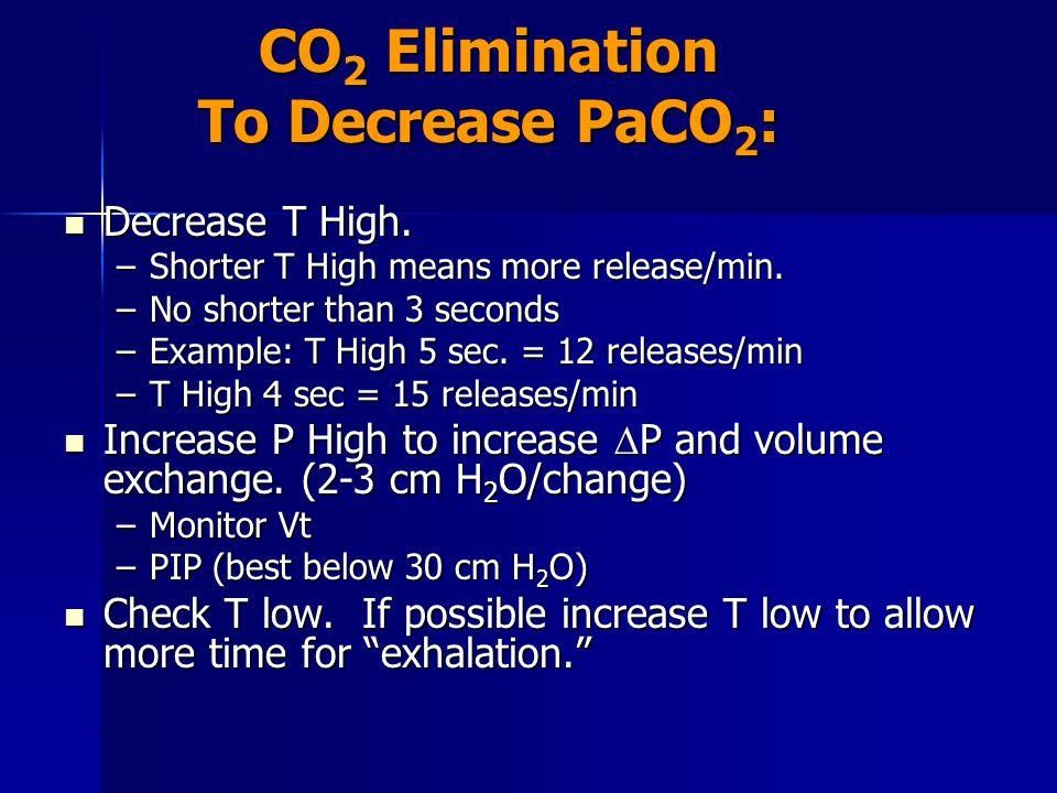 CO2 Elimination To Decrease PaCO2: