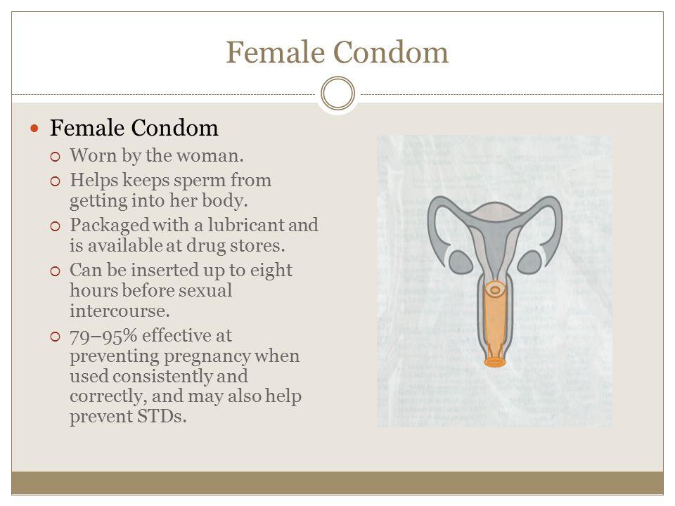 Female Condom Female Condom Worn by the woman.