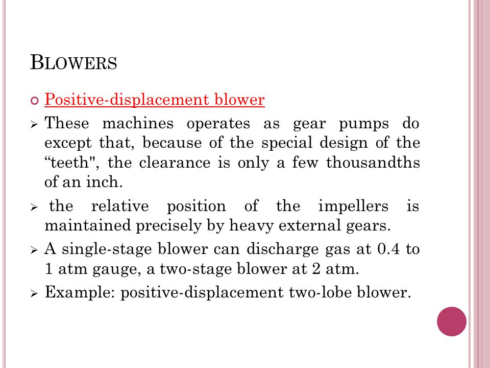 Blowers Positive-displacement blower