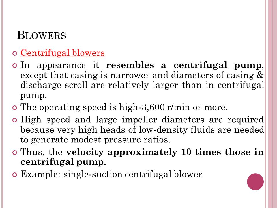 Blowers Centrifugal blowers