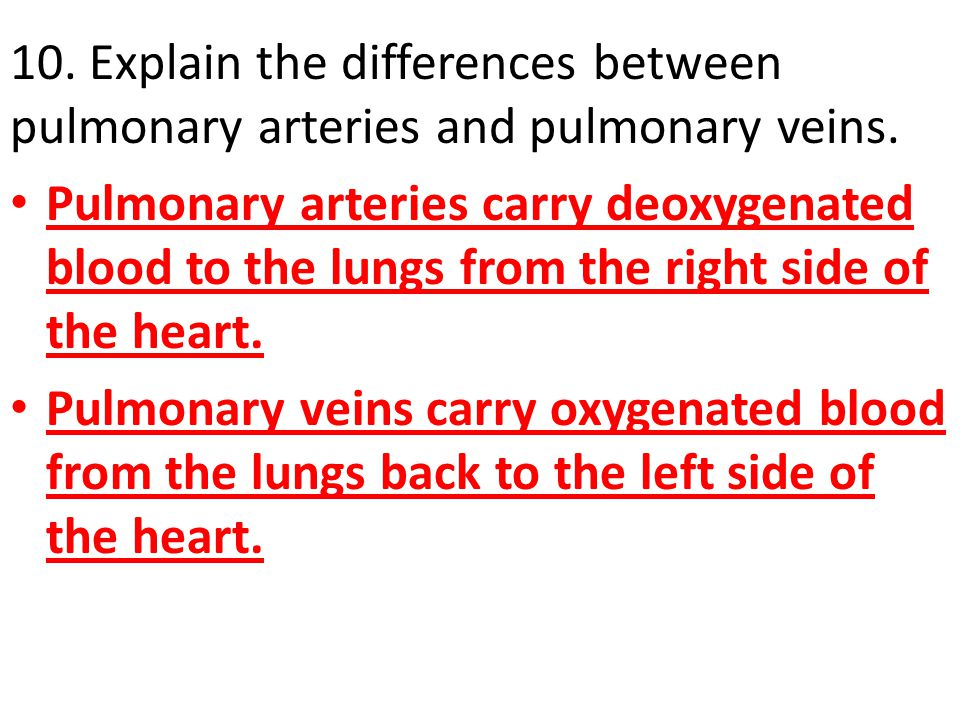 10. Explain the differences between pulmonary arteries and pulmonary veins.