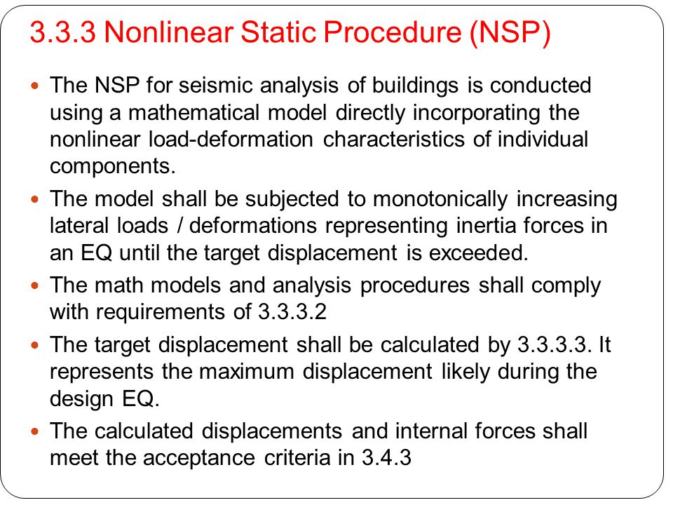 3.3.3 Nonlinear Static Procedure (NSP)