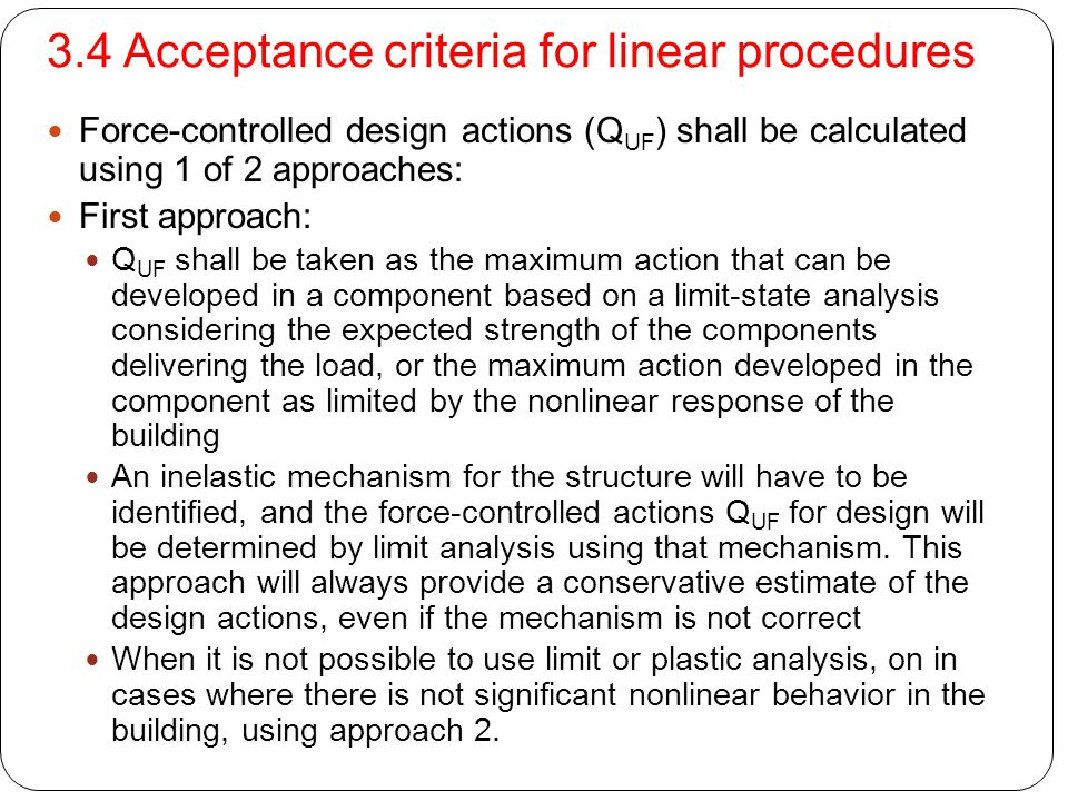 3.4 Acceptance criteria for linear procedures