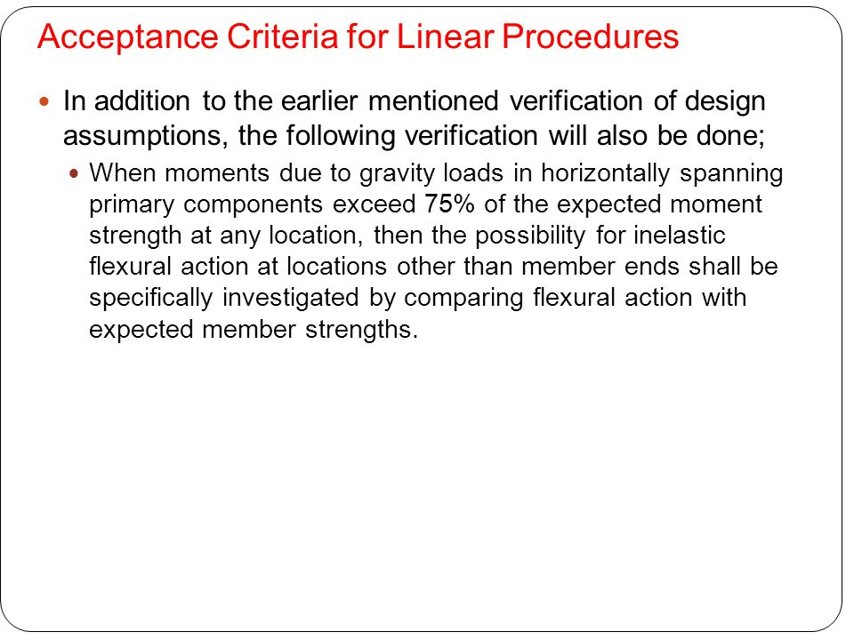 Acceptance Criteria for Linear Procedures