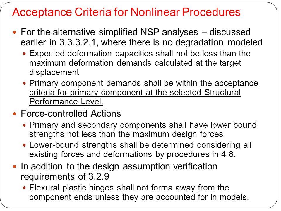 Acceptance Criteria for Nonlinear Procedures