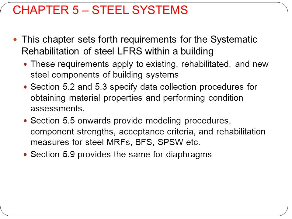 CHAPTER 5 – STEEL SYSTEMS