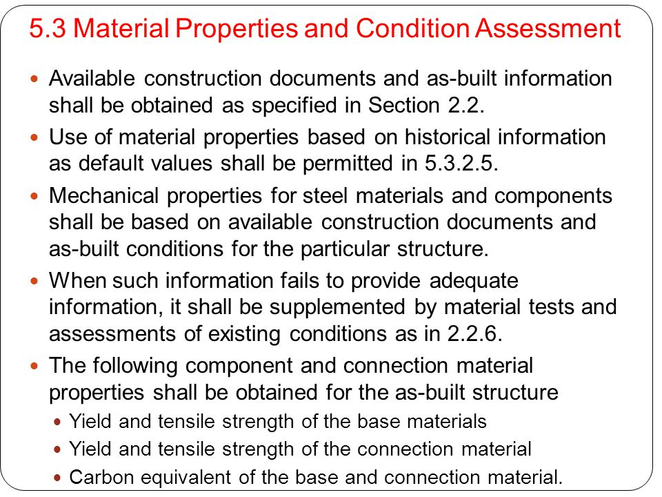 5.3 Material Properties and Condition Assessment