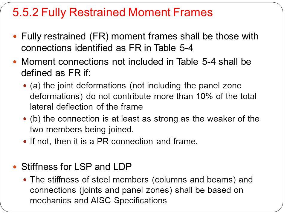 5.5.2 Fully Restrained Moment Frames