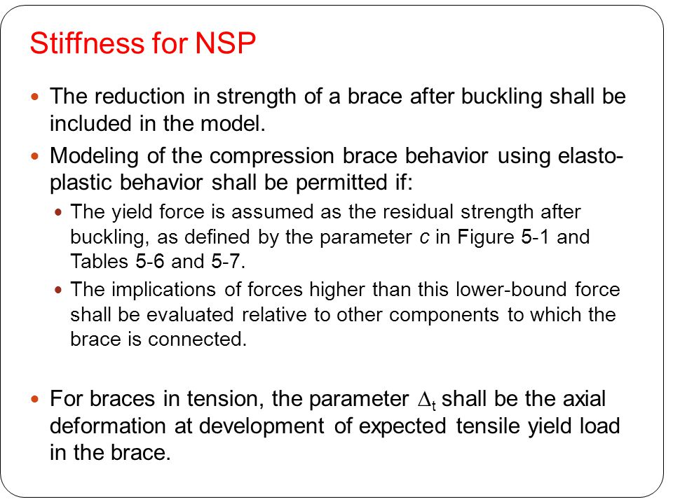 Stiffness for NSP The reduction in strength of a brace after buckling shall be included in the model.