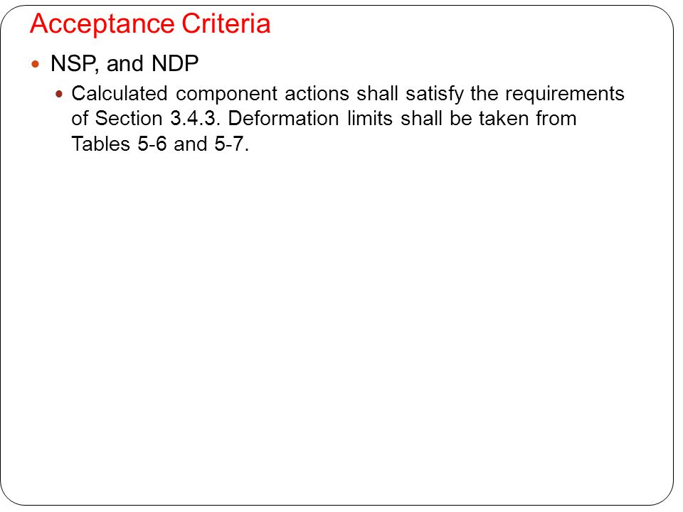 Acceptance Criteria NSP, and NDP