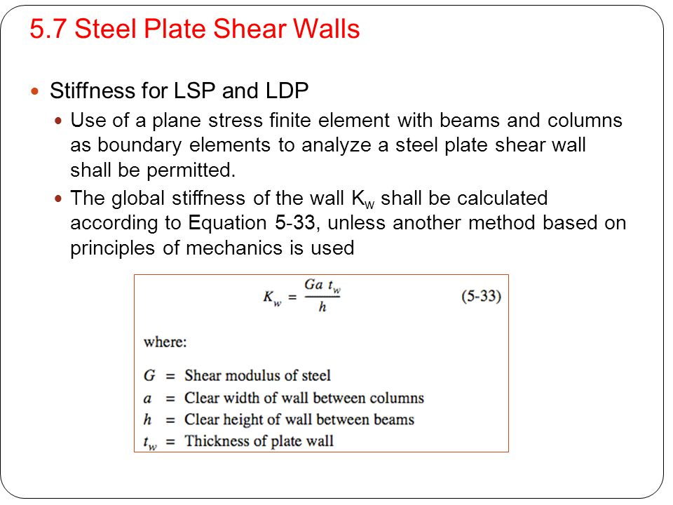 5.7 Steel Plate Shear Walls