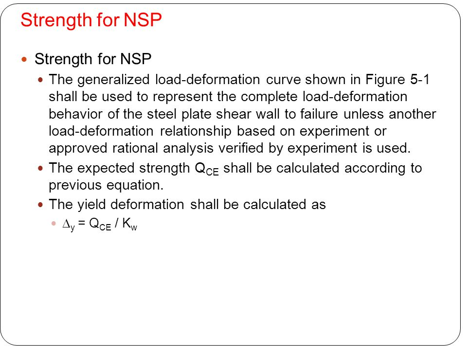 Strength for NSP Strength for NSP