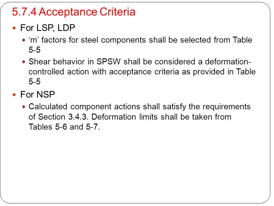 5.7.4 Acceptance Criteria For LSP, LDP For NSP