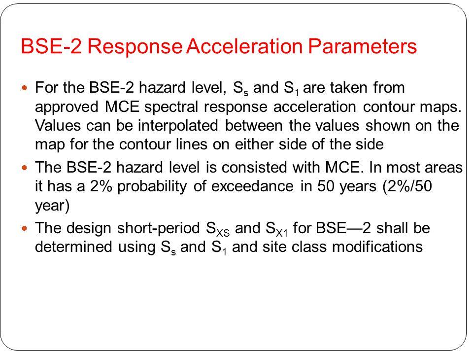 BSE-2 Response Acceleration Parameters
