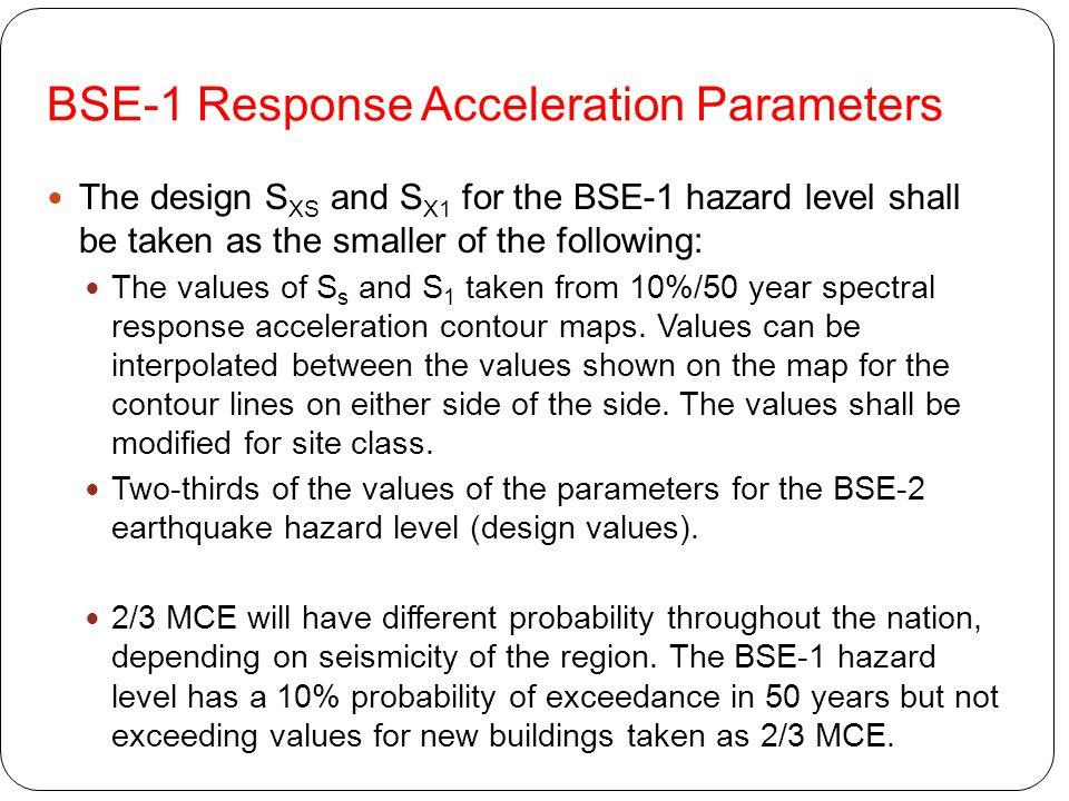 BSE-1 Response Acceleration Parameters