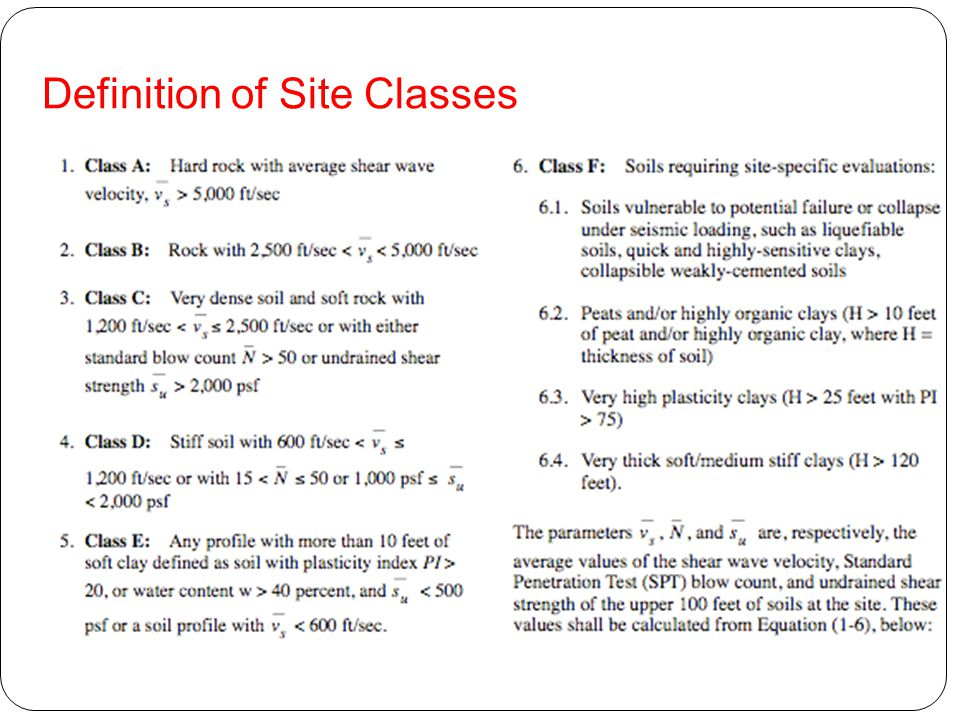 Definition of Site Classes