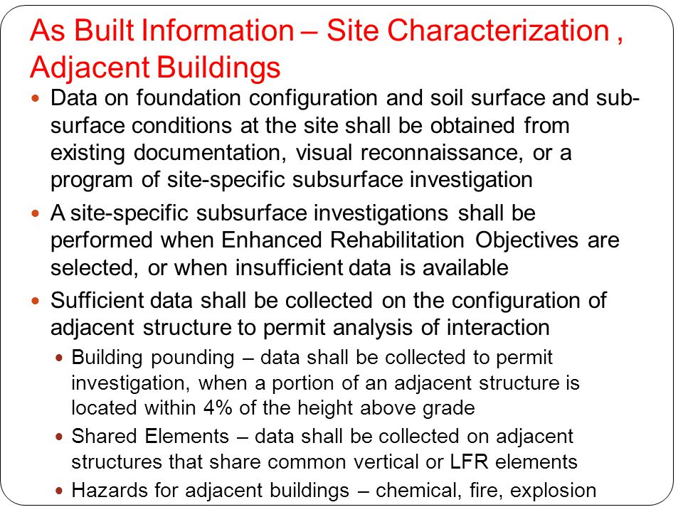 As Built Information – Site Characterization , Adjacent Buildings