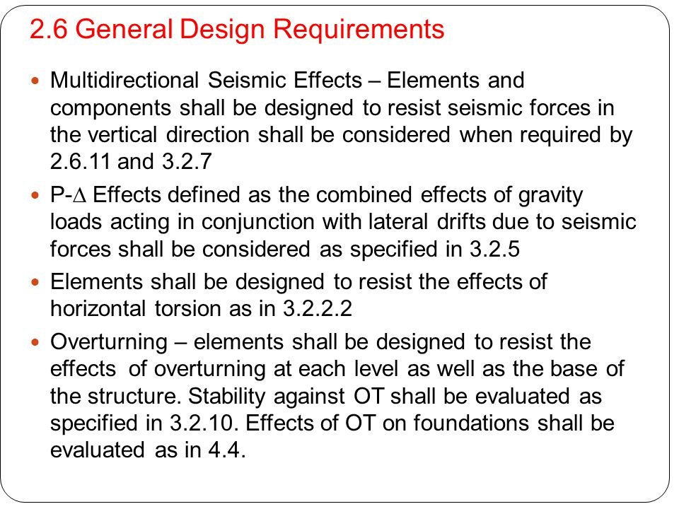 2.6 General Design Requirements