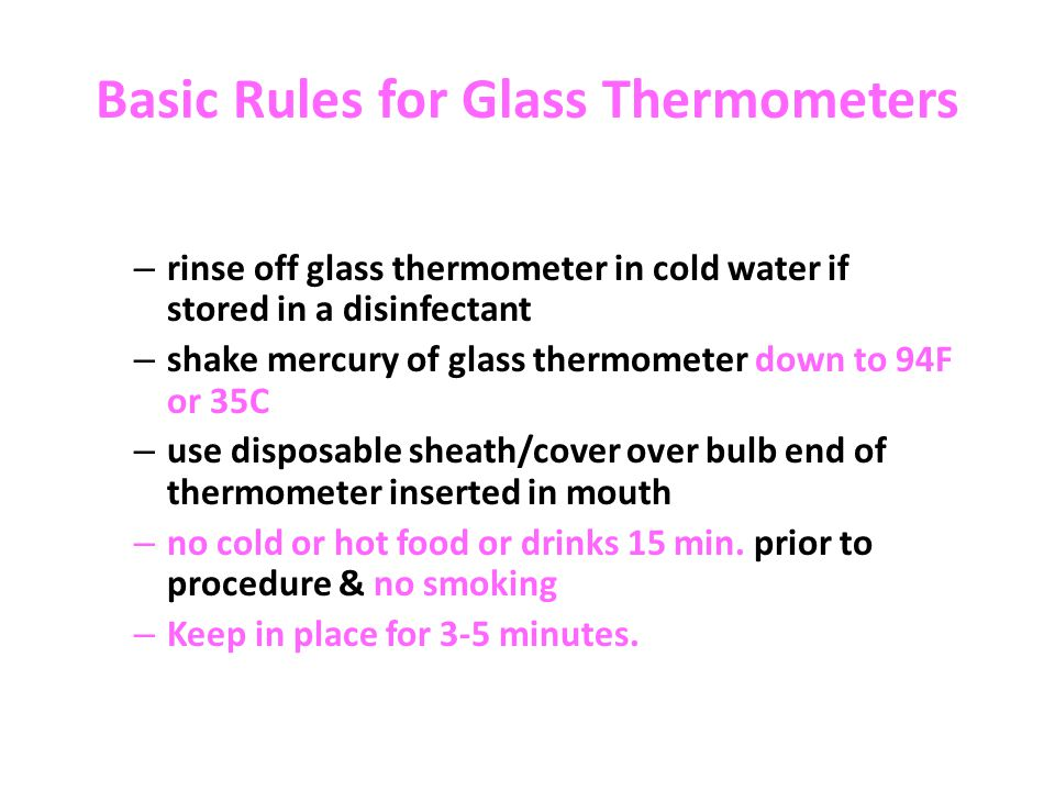 Basic Rules for Glass Thermometers