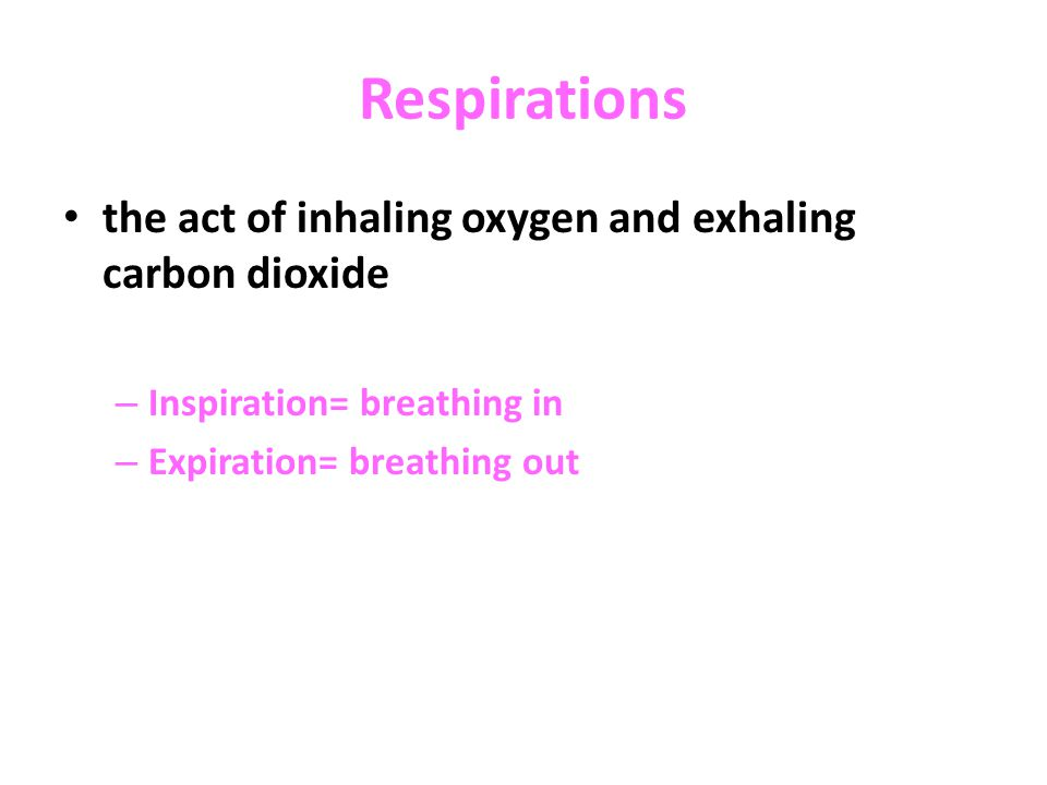 Respirations the act of inhaling oxygen and exhaling carbon dioxide