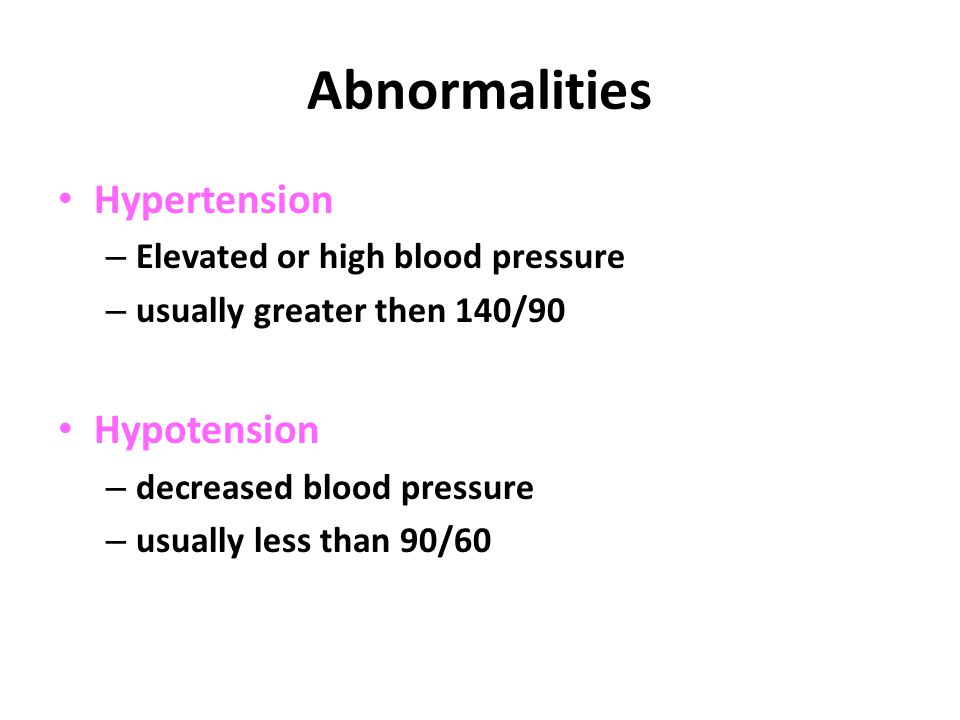 Abnormalities Hypertension Hypotension Elevated or high blood pressure