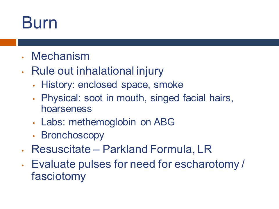 Burn Mechanism Rule out inhalational injury