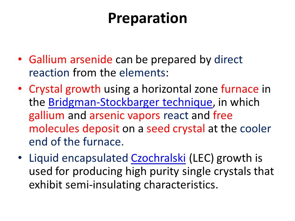 Preparation Gallium arsenide can be prepared by direct reaction from the elements:
