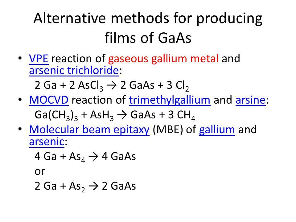 Alternative methods for producing films of GaAs