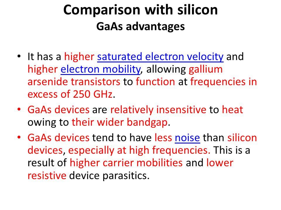 Comparison with silicon GaAs advantages