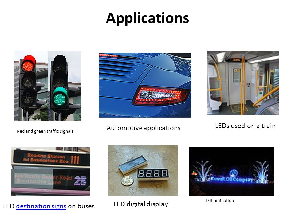 Applications LEDs used on a train Automotive applications
