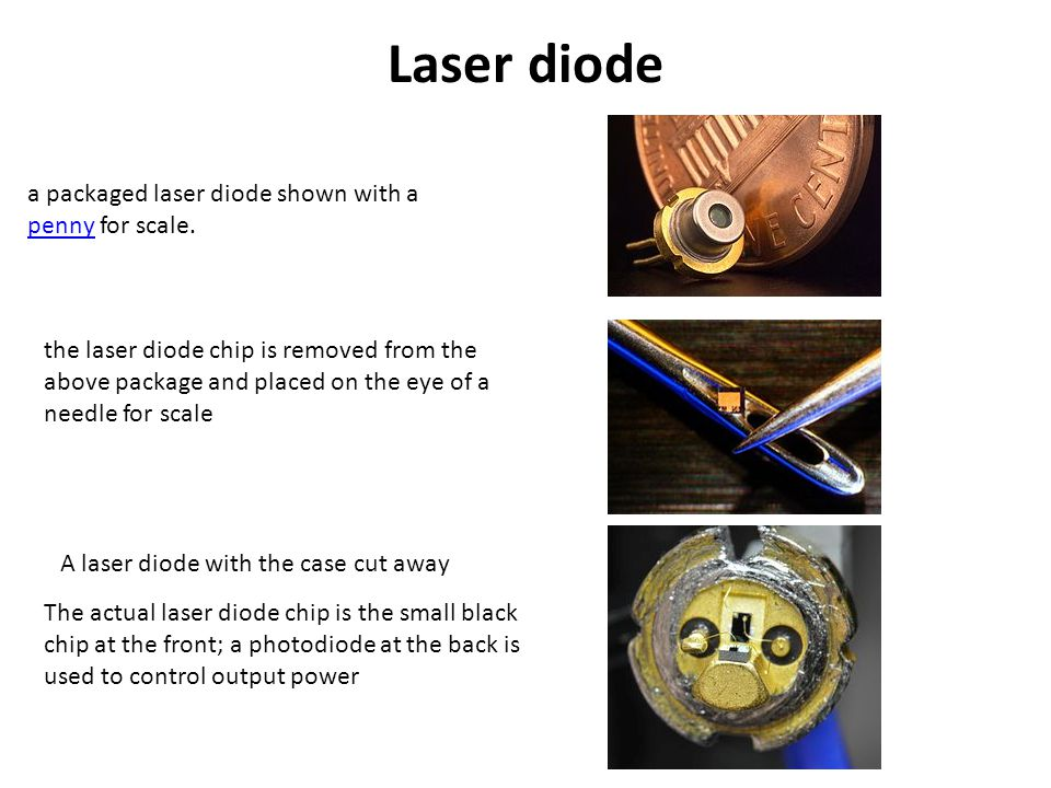 Laser diode a packaged laser diode shown with a penny for scale.