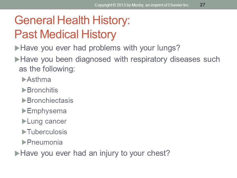 General Health History: Past Medical History