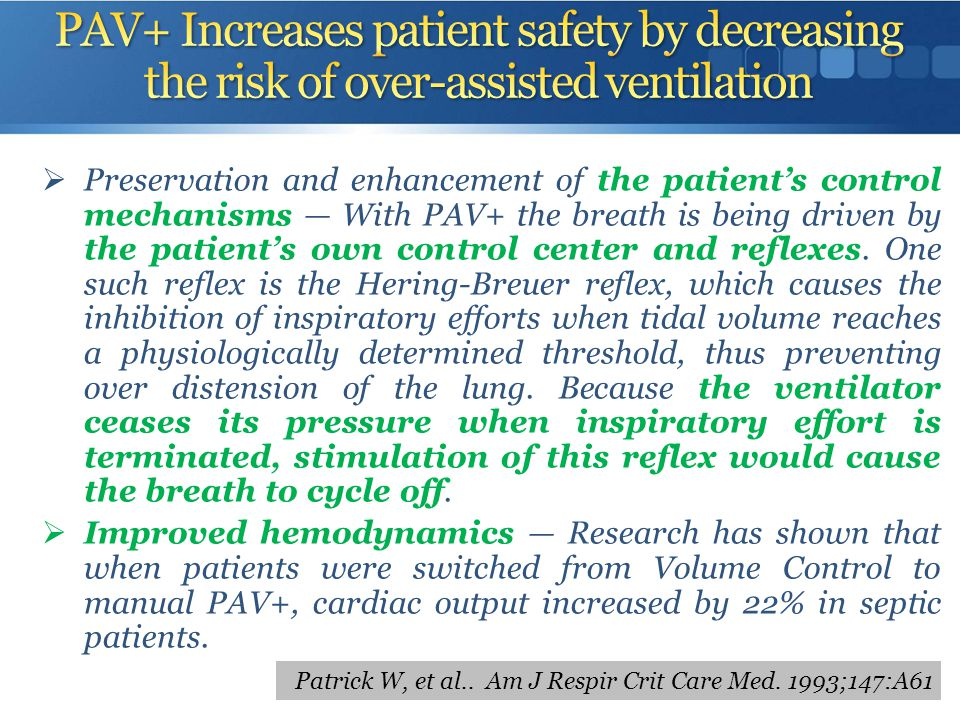 PAV+ Increases patient safety by decreasing the risk of over-assisted ventilation