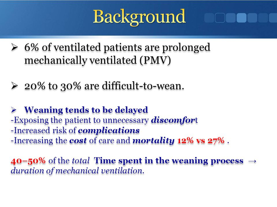 Background 6% of ventilated patients are prolonged mechanically ventilated (PMV) 20% to 30% are difficult-to-wean.
