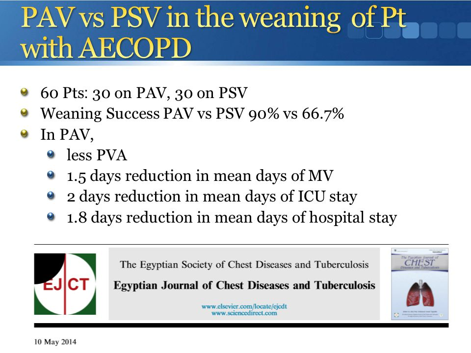 PAV vs PSV in the weaning of Pt with AECOPD