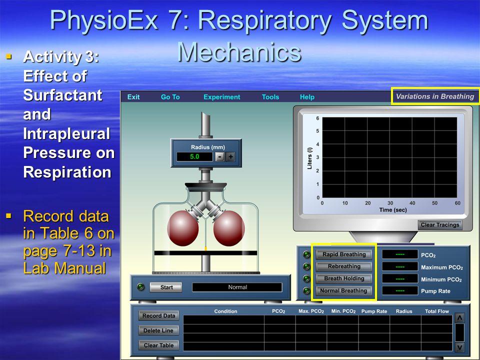 PhysioEx 7: Respiratory System Mechanics