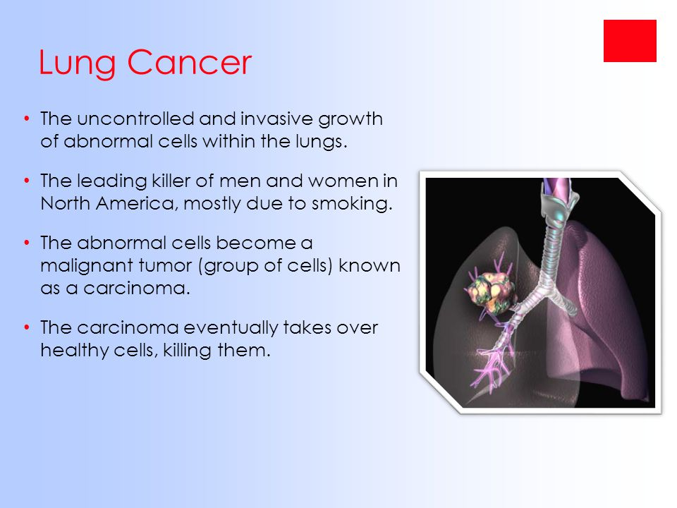 Lung Cancer The uncontrolled and invasive growth of abnormal cells within the lungs.