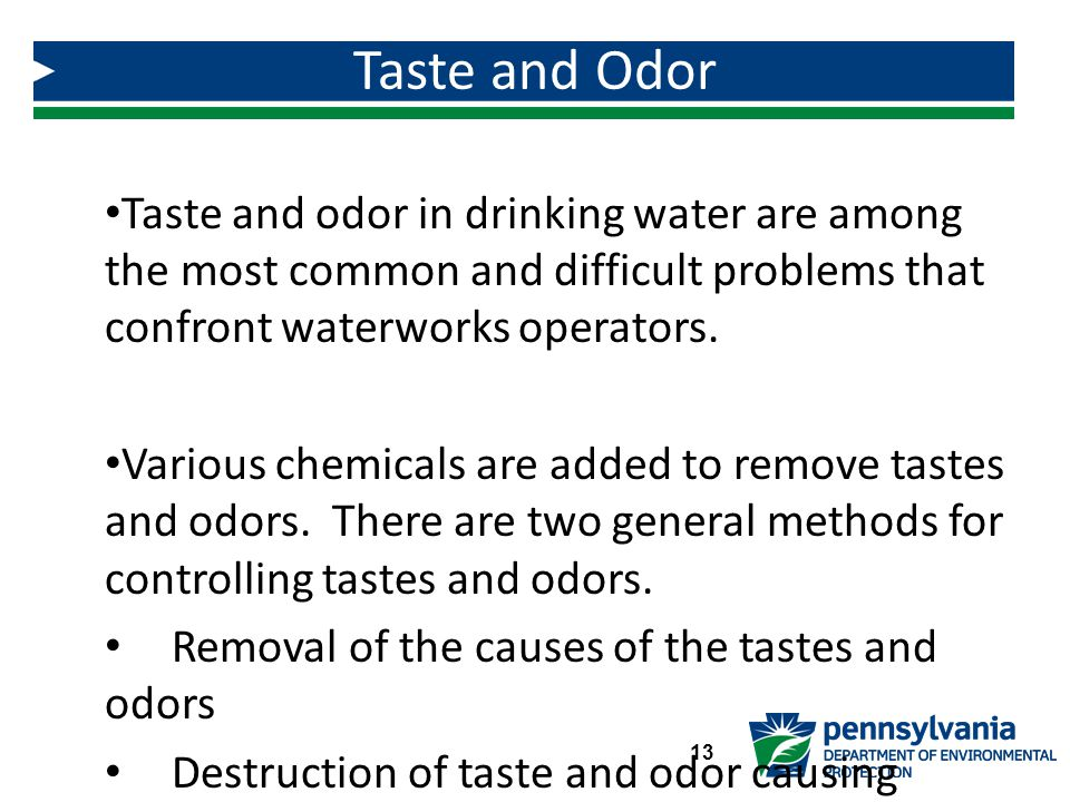 Taste and Odor Taste and odor in drinking water are among the most common and difficult problems that confront waterworks operators.