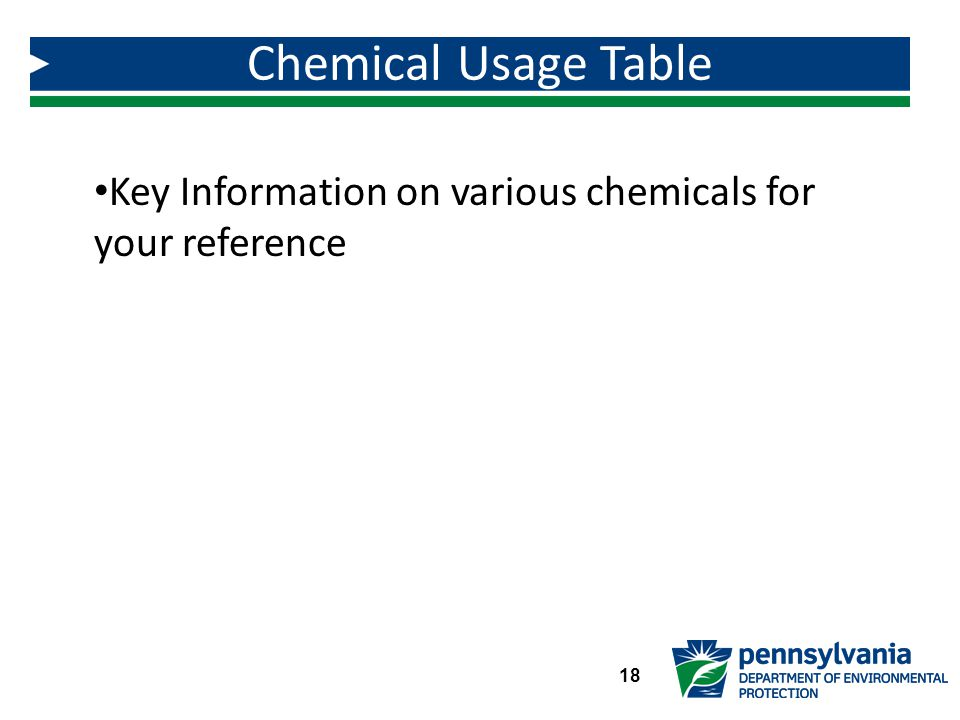 Chemical Usage Table Key Information on various chemicals for your reference