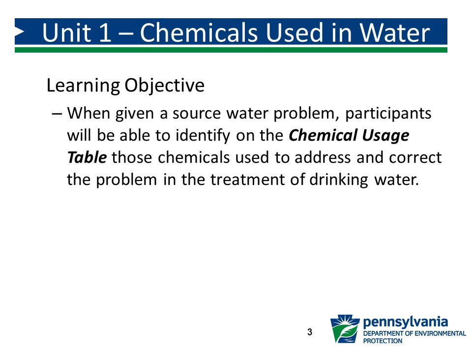 Unit 1 – Chemicals Used in Water Treatment