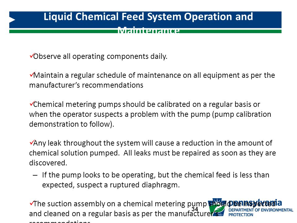 Liquid Chemical Feed System Operation and Maintenance